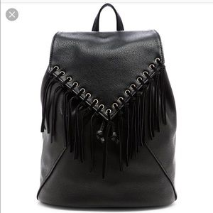 Sole Society Black Leather Fringe Backpack